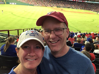 Tim and Suzanne at a Texas Rangers Game